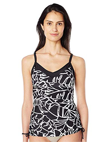 Ocean Avenue Women's Palm Beach Shirred-Side Tankini, Black, S