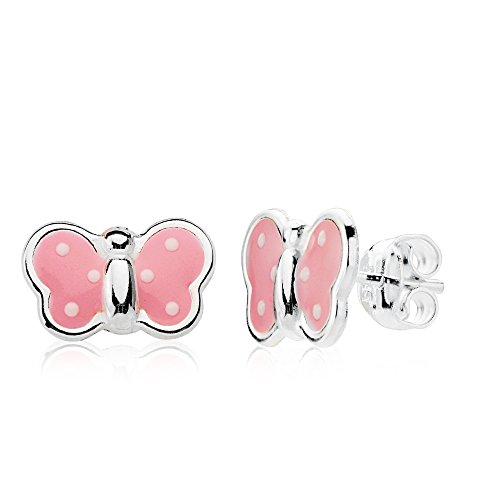 Pendientes niña mujer mariposa plata de ley 925 esmalte rosa 13x8mm cierre presión