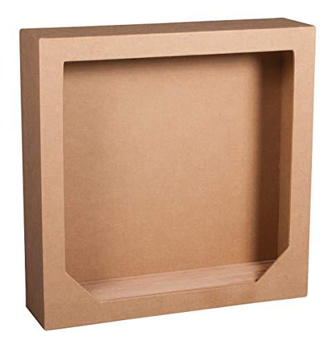 Rayher 67266000 Pappmaché- Rahmen 21,7 x 21,7 x 5,5 cm, mit 3-rilligem Holzsteckboden, FSC zertifiziert, Objektrahmen,  Bilderrahmen