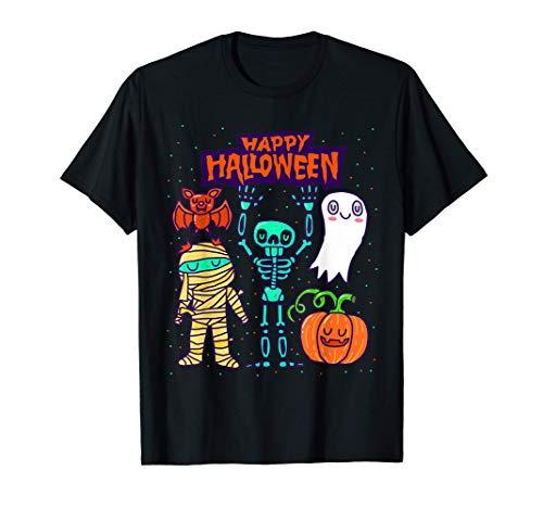 Feliz Halloween Esqueleto Calabaza Fantasma Lindo Niños Camiseta