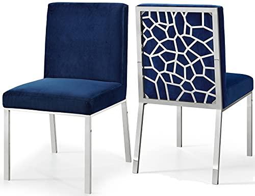 BEVANNJJ ZYY Moderno Azul Gris Terciopelo Silla de Comedor Lujo Vintage Sala de Estar Muebles Oro Plata Metal Pierna casa Restaurante (Color : Silver Leg Blue)