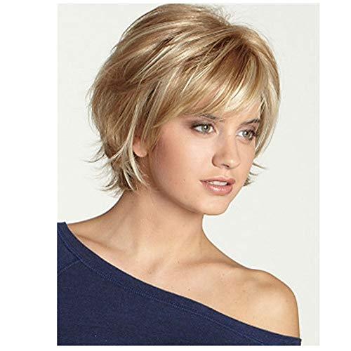 Charmant Brown Short Slight Golvend Echte menselijke haar pruik met pony stijlvolle blonde Volledige haar pruiken for vrouwen Lady