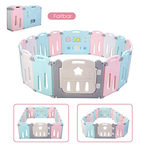 BAMNY Box Recinto per Bambini Barriera di Sicurezza Pieghevole con Porta Plastica Estensibile, 14 Pannelli (12+2, rosa + blu + stella)