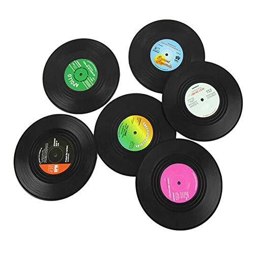 Retro-Vinyl-Untersetzer für Getränke im 6er-Pack,bunte Retro-Vinyl-Untersetzer,neuartige Geschenke für Musikliebhaber,kreative Dekoration für Bar/Zuhause/Büro oder Partyartikel der 70er / 80er Jahre