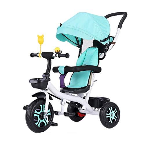 GCXLFJ Triciclo Bebe Triciclo Triciclo,Pedal Ajustable multifunción Triciclo de Dos vías Sentado diseño,Triciclo del bebé al Aire Libre,3 Colores,90x90x58cm(Color:Rojo) (Color : Cyan)