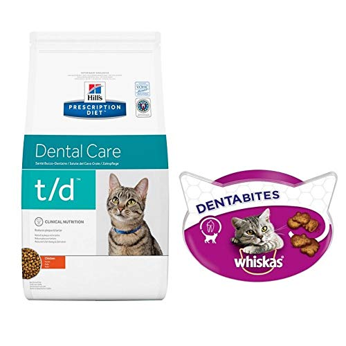 Hill's Prescription Diet Feline T/d Dental Care 1.5kg - Chicken Enriched And Complete Dietetic Food For Adult Cats + Whiskas Dentabites 50g Delicious Dental Care Treats Suitable For All Cats