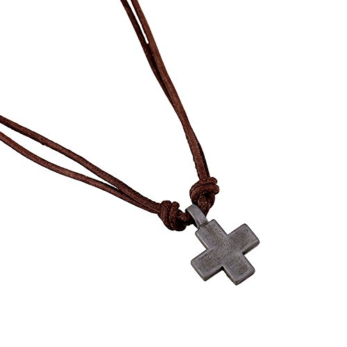 INBO Men's Metal Cross Pendant on Brown Double Strand Leather Cord Choker Long Necklace
