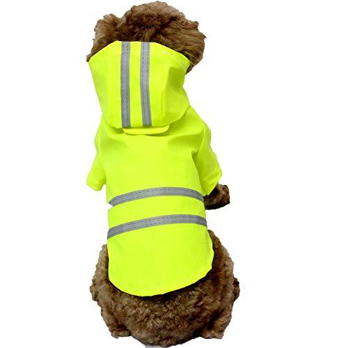 RYDRQF wasserdichte Kleidung für Hunde, Verstellbare wasserdichte Leichte Hunderegenjacke, Hunderegenponcho Hunderegenbekleidung mit Reflexstreifen für Kleine und Mittlere Hunde,Grün,S