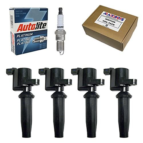 4 Ignition Coils + 4 Autolite AP104 Platinum Spark Plugs For Ford Mazda Mercury