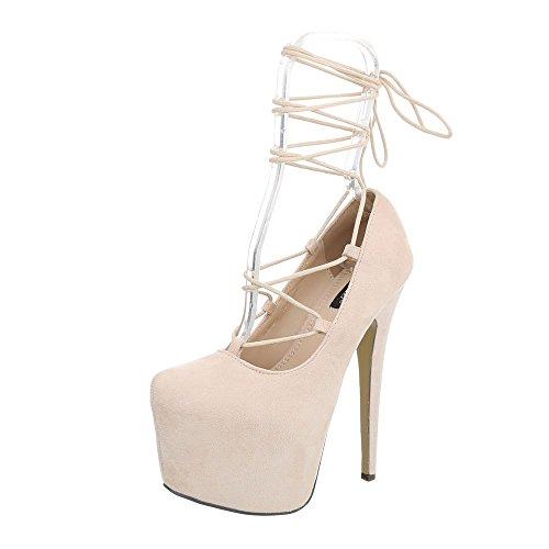 Ital-Design High Heel Pumps Damen-Schuhe High Heel Pumps Pfennig-/Stilettoabsatz High Heels Schnürsenkel Pumps Beige, Gr 36, Xk-0021-