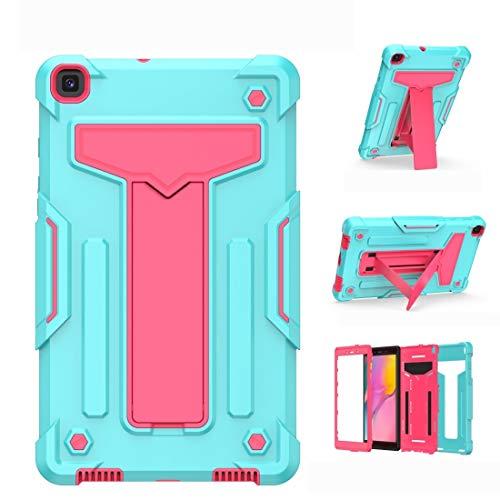 BZN - Soporte para Samsung Galaxy Tab A8.0 (2019) T290 en forma de T, color de contraste a prueba de golpes, PC + funda protectora plana de silicona (color verde menta y rojo rosa)
