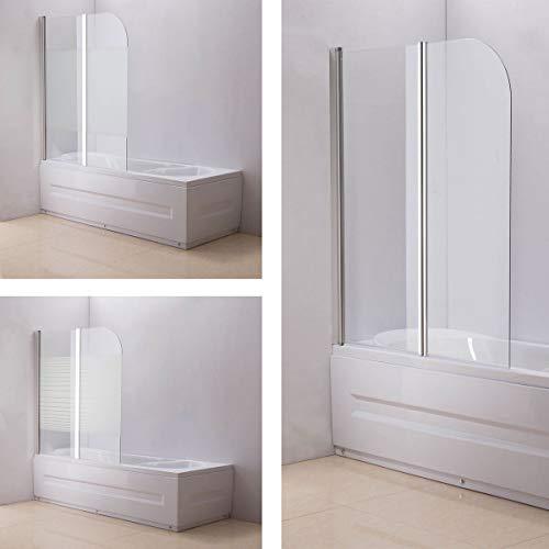 CLP Nano Duschabtrennung für die Badewanne Anschlag Links | Faltbarer Badewannenaufsatz aus Sicherheisglas | 2 teilige Duschwand, Farbe:halbmilchglas