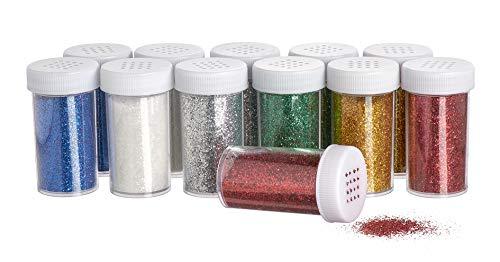 12 Glitter Dosen Puder Gitzerstaub viele Farben Glitzer je 22g VBS Großpackung