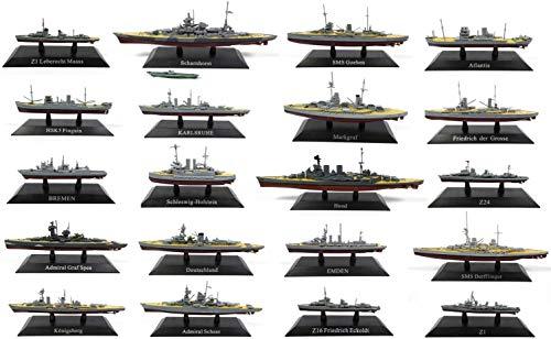 OPO 10 - Los mit 20 Kriegsschiffen 1/1250 HSK5 Pinguin Hood Deutschland KONIGSBERG Bremen Atlantis SCHARNHORST (WSL10)