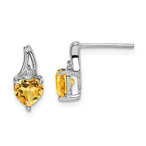 925 Sterling Silver Polished Open back Rhodium Plated Diamond Citrine Love Heart Post Earrings Measures 10x5mm Wide Jewelry Gifts for Women