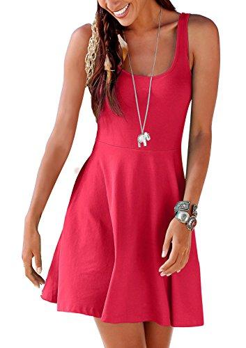 Uniquestyle Damen Ärmelloses Beiläufiges Strandkleid Sommerkleid Tank Kleid Ausgestelltes Trägerkleid Knielang Koralle M