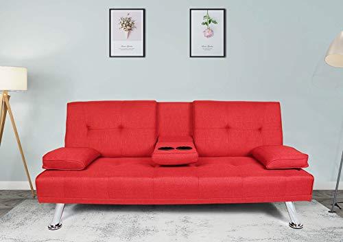 Rhomtree Futon Sofa Bed Foldable Reclining Back Sofa Sleeper with