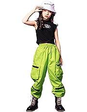 LOLANTA Ropa de hip hop para niñas Traje de baile callejero Top sin mangas Pantalones cargo