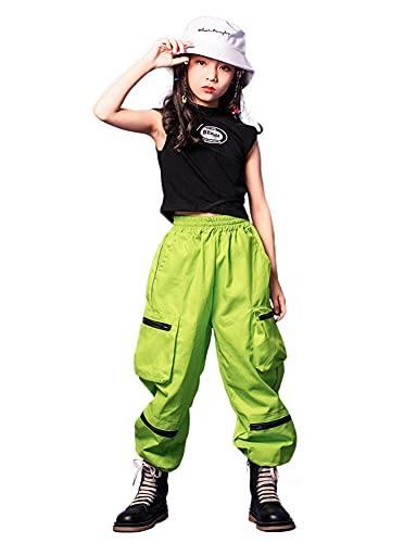 LOLANTA Ropa de hip hop para niñas Traje de baile callejero Top sin mangas Pantalones cargo(Verde,11-12 años,tamaño de la etiqueta 160