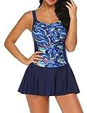 Ekouaer Swim Dress One Piece Bathing Suit Skirted Swimsuits for Women Ruched Retro Swimwear S-XXL (Large, Navy Blue)