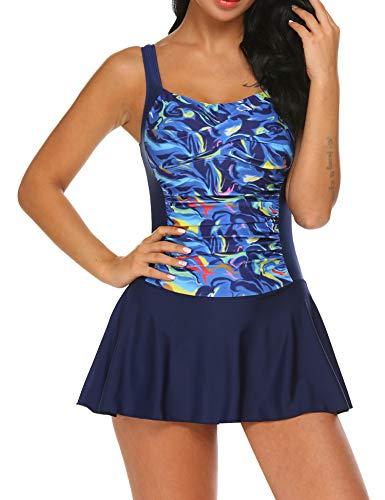 Ekouaer Women's Sporty One Piece Swimdress Boyshort Swimsuit Bathing Suit(Navy Blue M)