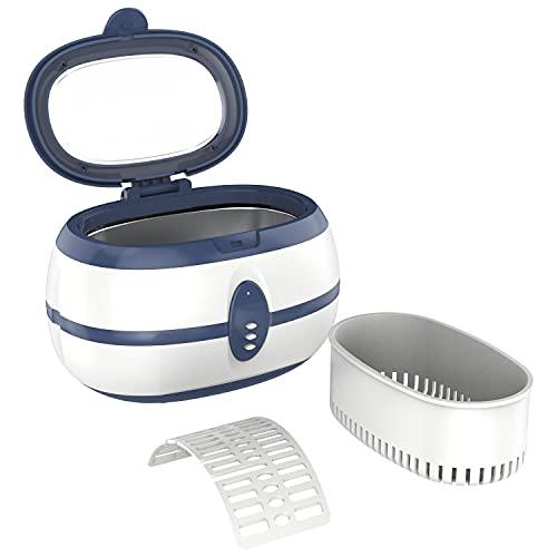 FLOUREON - Pulitore a ultrasuoni, 600 ml, dispositivo di pulizia a ultrasuoni, con supporto per orologio e cestino per la pulizia, per occhiali e gioielli, 35 W