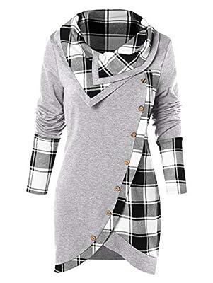BeautyGal Women's Cowl Neck Plaid Drawstring Button Hoodie Sweatshirt Tunic Dress