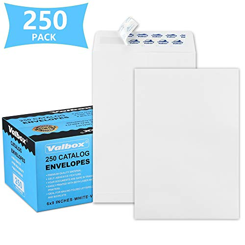 ValBox 6x9 Self Seal Security Catalog Envelopes 250 Count Small White Envelopes for Mailing, Storage and Organizing