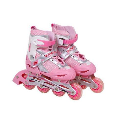 HuntGold Réglable patins à roues alignées chaussures rose pour les enfants(Taille: L)