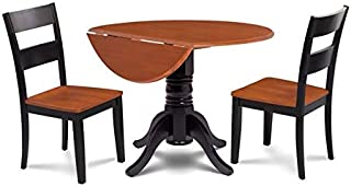 Burlington 3 Piece small kitchen table set-kitchen table and 2 dining chairs in Black & Cherry finish