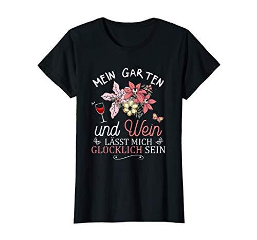 Damen Garten Blumen Schmetterling Wein Frau Gärtnerin Ruhestand T-Shirt