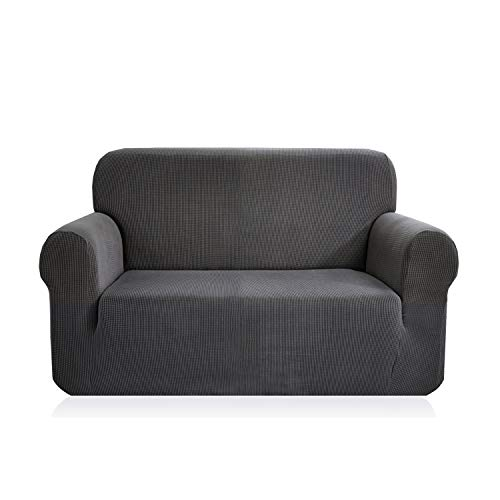 E EBETA Elastisch Sofa Überwürfe Sofabezug, Stretch Sofahusse Sofa Abdeckung Hussen für Sofa, Couch, Sessel 2 Sitzer (Dunkelgrau, 145-185 cm)