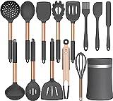 Umiten - Juego de utensilios de cocina de silicona, 14 piezas de utensilios de cocina, silicona antiadherente resistente al calor, utensilios de cocina con mango de acero inoxidable (gris)