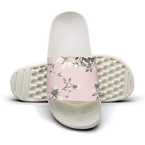 Vintage Watercolor Floral Pattern White Slides Shoes Slippers Beachbathroom Best Cheer Women's