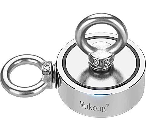 Magnete al neodimio, Wukong Magnete Potente Include Forte Magnete (400kg/880LB), Corda, Guanti, Colla per Filettare, Diametro 75mm, Magneti da Pesca con Corda da 20m Magnete Per Pesca