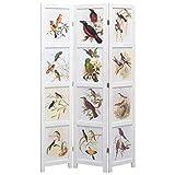UnfadeMemory Biombo Divisor Plegable para Crear Privacidad,Divisor para Habitación o Sala de Estar,Estilo Vintage,Diseño de Pájaros y Coloridas Flores,Madera Maciza,Blanco (3 Paneles-105x165cm)