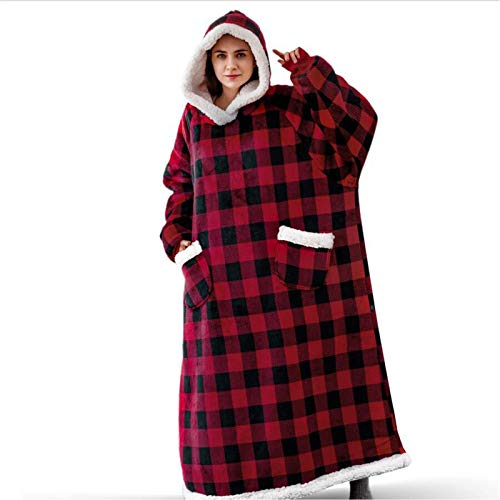 KPII Manta Mujer De Sudadera con Capucha, Super Soft Warm Premium Sherpa Fleece Sweatshirt, Adultos Talla Unica,Rojo,One Size