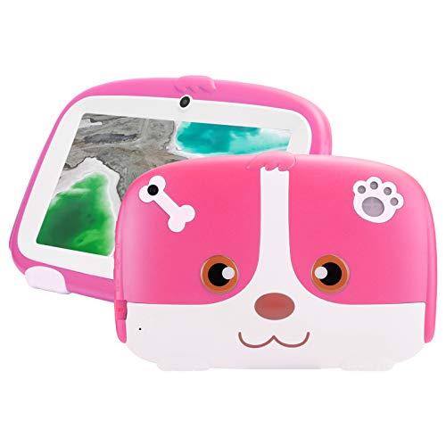 Lazimin Tableta para niños, Pantalla TFT de 7 Pulgadas, Tableta WiFi de Forma Linda de 1GB + 16GB, para Sistema Android 9.0, micrófono Incorporado, cámara Dual, Regalos para niños(Enchufe DE LA UE)