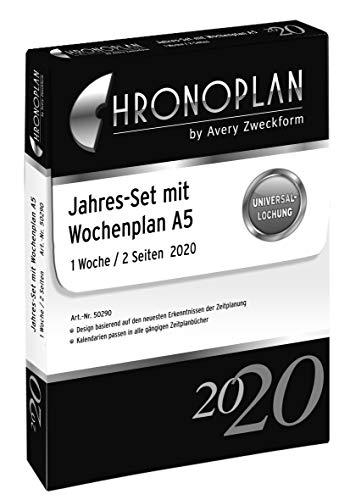 Chronoplan 50290 Kalendereinlage 2020 (Jahres-Set A5 mit Wochenplan (148 x 210 mm), Ersatzkalendarium, ideal für professionelle Wochenplanung, mit Uhrzeit, Multilochung (1 Woche auf 2 Seiten)) weiß