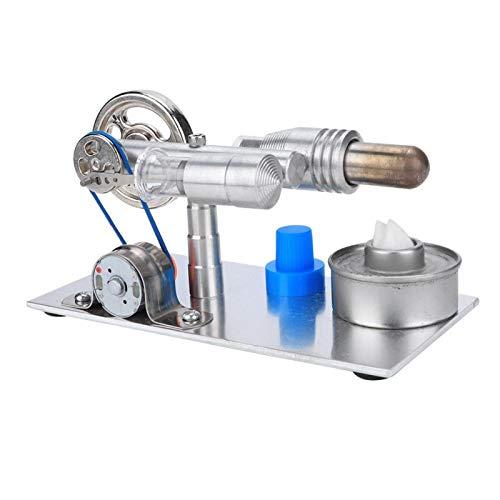con lámpara LED multicolor, kit de motor Stirling, apoyo de demostración de proyectos científicos de plata para niños