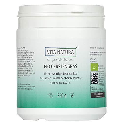 Gerstengras Pulver Bio | Pur |  Deutschland | Apothekenqualität | Hoher Wirkstoffgehalt | 250 g