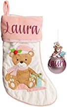 The Christmas Cart Personalised Gifts & Keepsakes Baby Pink Teddy Bear Stocking and Bauble Pack