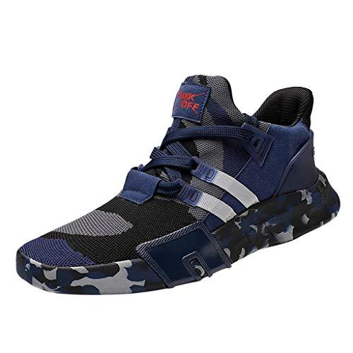 FNKDOR Schuhe Herren Flying Knit Atmungsaktiv Tarnung Laufschuhe Turnschuhe Sportschuhe Männer Schnürsenkel Leichtgewicht Sneaker Teenager Outdoor-Schuhe Blau 43 EU