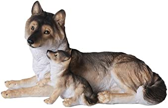 Pacific Giftware Grey Wolf with Pups Wildlife Collection Figurine Statue 9.5 inch Realistic Looking Collectible Home Decor Gift