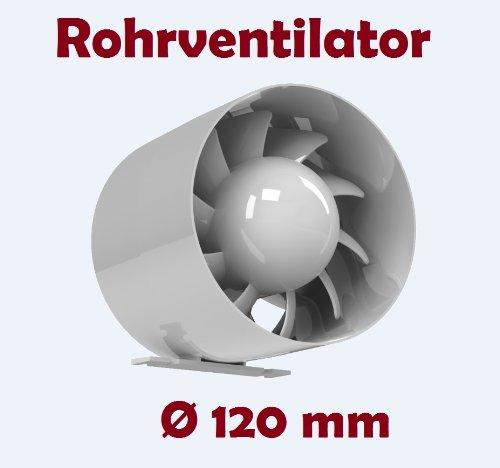 Kanal Rohrventilator Rohreinschub Abluft Lüfter Rohr Ventilator Leise Ø 120 mm 12 cm Kugellager Rohrlüfter 16W - 158m³