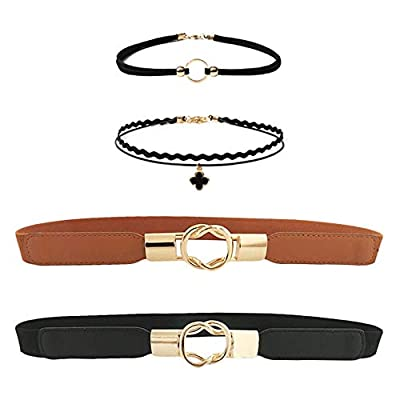 Huture Women's Leather Skinny Waist Thin Elastic Belt Stretchy Retro Chic Hook Clasp Cinch Collar Slim Waistband Interlocking Metal Buckle plus Pearl Choker for Women Girls Dresses Accessory