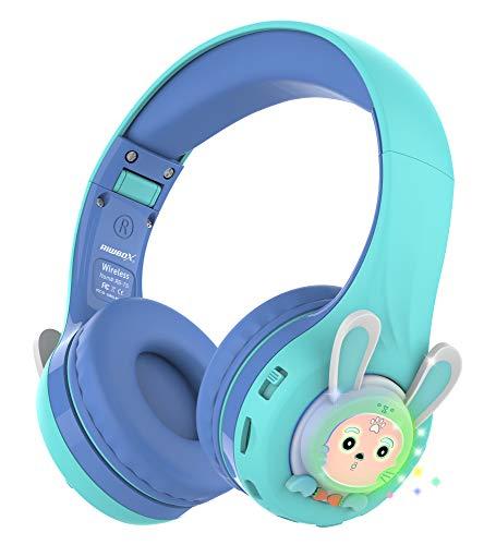 Riwbox RB-7S Auriculares para niños, Bluetooth con luz LED inalámbricos Plegables Volumen sobre la Oreja Seguro Limitado 75dB/85dB/95dB con micrófono Tarjeta TF, Auriculares niños (Azul Verde)