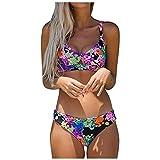 Mujer Bikini Cintura Alta 2021 Conjunto Brasileños Sujetador,Traje de BañO Sexy para Bañador Playa Sets Bikinis en V Cuello Push up BañO Estampado BañAdores con Relleno Tops y Braguitas Ropa
