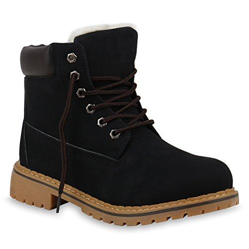 Warm Gefütterte Damen Stiefeletten Outdoor Worker Boots Schuhe 153716 Schwarz Weiss 38 Flandell