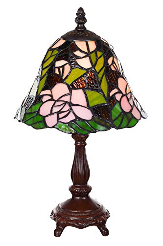 Lampada in stile Tiffany da 8 pollici, con libellula nobile e rosa, lampada decorativa in stile Tiffany, lampada da tavolo (Tiff 155)